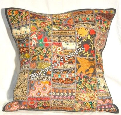 """Indian Ethnic Patchwork Antiqu Embroidery Fabric Cushion Cover Vintage Throw 24"""""""
