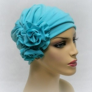 Aqua Jersey Rosette Head Wrap with matching hat.