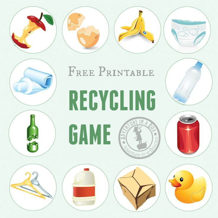 What bin do these items go into? Play the free printable recycling game to introduce kids to the basics of recycling or as an educational Earth Day activity.