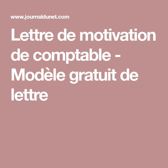 lettre de motivation de comptable