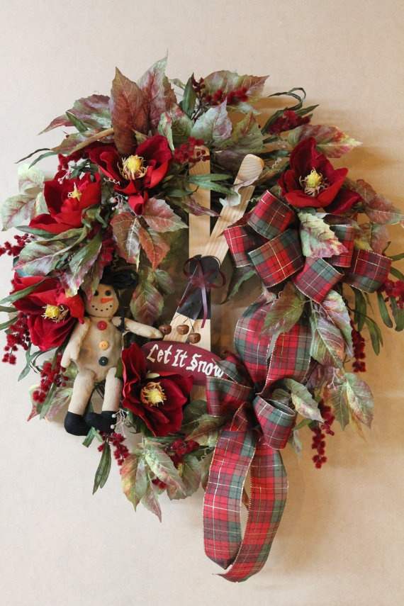 Country Primitive Christmas Wreath Beautiful by FloralsFromHome, $134.00