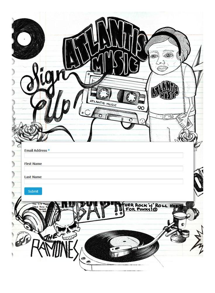 Custom MailChimp signup form design for Atlantis Music (in Australia).