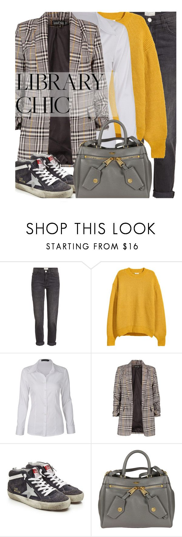 """""""Work Hard, Play Hard: Finals Season"""" by maranella ❤ liked on Polyvore featuring Current/Elliott, H&M, Golden Goose, Moschino and finals"""