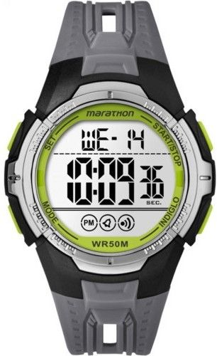 Timex Marathon by Men's Digital Full-Size Black/Gray/Green Watch, Resin Strap