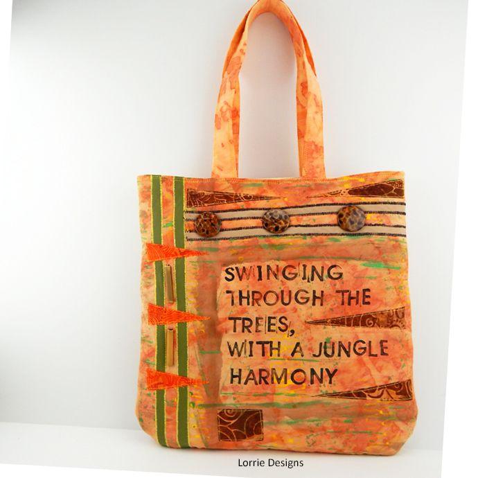 Orange Tote Bag - Jungle Book Bag - Art Bag - Mixed Media - Shopping Tote - Market Bag - Lorrie Designs by LorrieDesigns, $46.00 USD