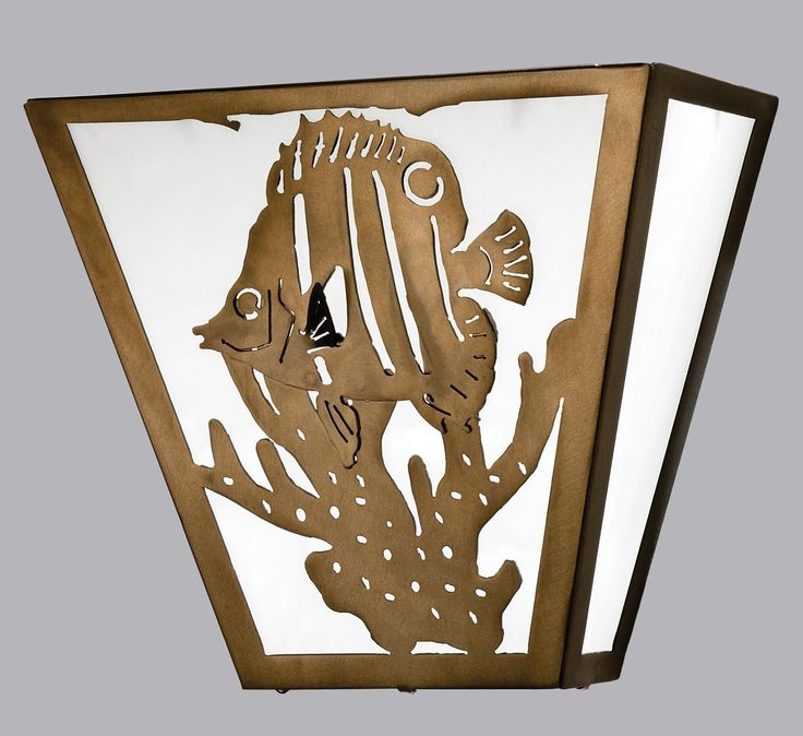 13 Inch W Tropical Fish Wall Sconce - 13 Inch W Tropical Fish Wall SconceA charming Tropical Fish swims on this natureinspired wall sconce. The fixture is finished in Antique Copper, has White art glass panels, and is handcrafted in the USA by Meyda artisans. Theme: NAUTICAL ART GLASS ANIMALS Product Family: Tropical Fish Product Type: WALL SCONCES Product Application: ONE LIGHT Color: ANTIQUE COPPER/CA Bulb Type: MED Bulb Quantity: 2 Bulb Wattage: 60 Product Dimensions: 11.5H x 13W x…