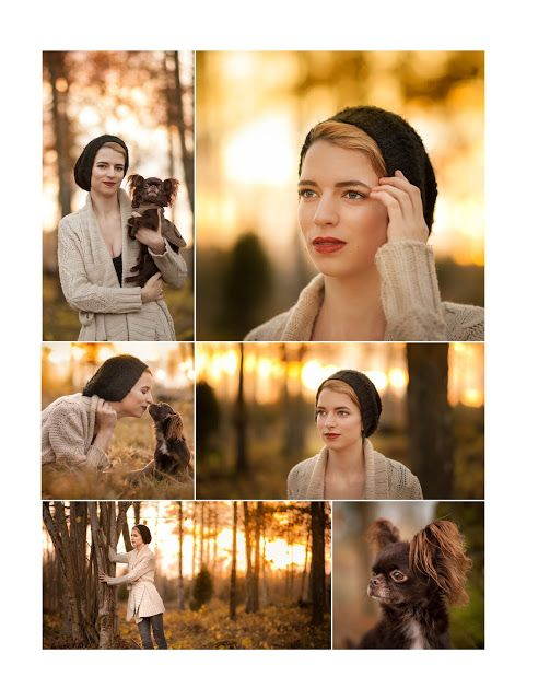 By Swedish photographer Maria Lindberg. Girl and her dog, a chihuahua. Photosession in fall. Autumn colours. Model fall photos.