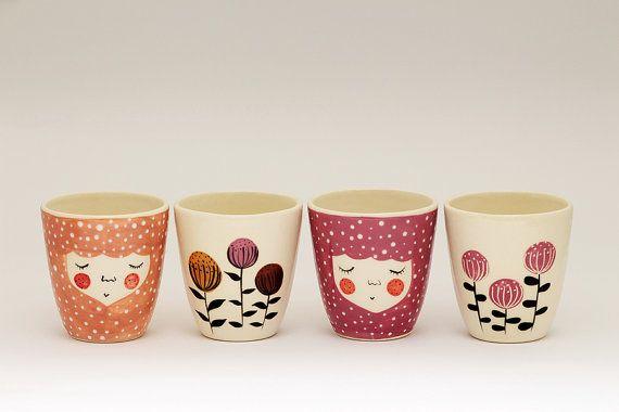 Set of 4 Handmade ceramic cup ceramic by MarinskiHeartmades