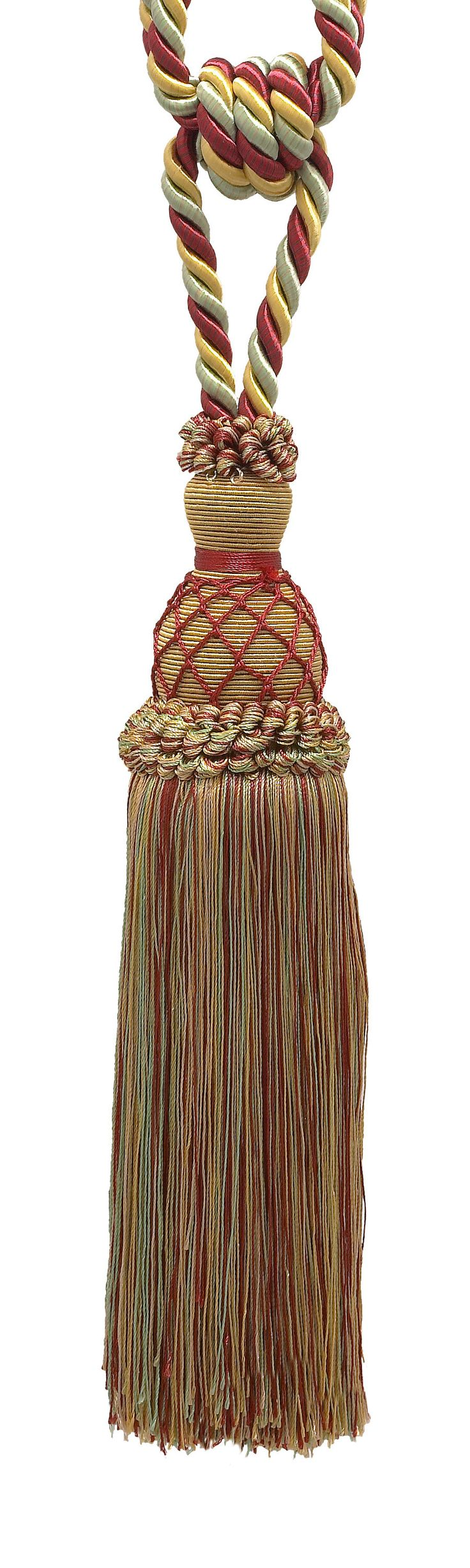 "Elegant Gold, Red, Green Curtain & Drapery Tassel Tieback / 10"" tassel, 30 1/2"" Spread (embrace), 3/8"" Cord, Imperial II Collection Style# TBIN-1 Color: HOLIDAY SPLENDOR - 3752"