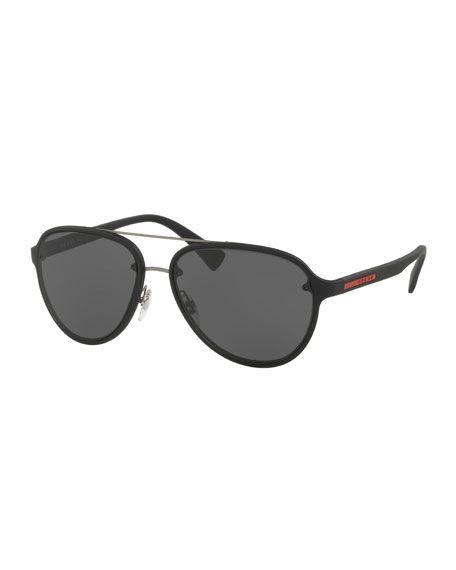 PRADA Linea Rossa Men'S Aviator Sunglasses, Black. #prada #