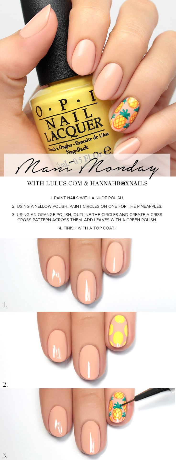 Mani Monday: Nude with Pineapple Accent Nail Tutorial at LuLus.com!