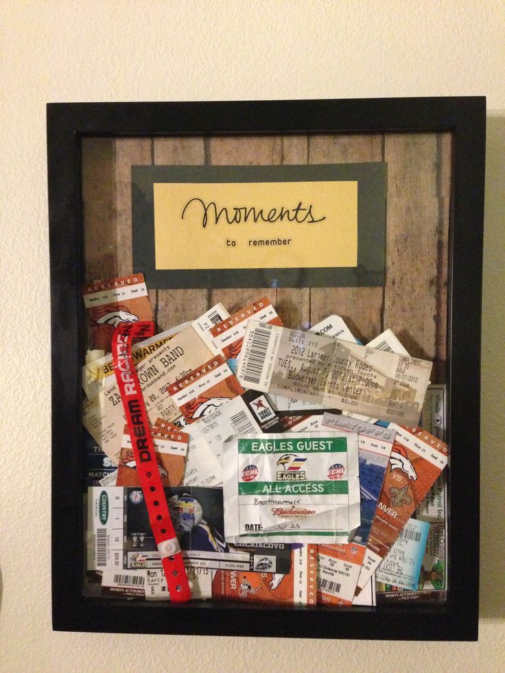 My latest project - Pinterest inspired. I bought a display/shadow box frame from Hobby Lobby ($12) and some scrapbook paper ($1), then glued the paper to the back of the frame. Added a title with layered paper and put in all of my tickets I've been collecting over the years. Instead of storing them a show box they now have a nice display. A reminder of a lot of fun memories and the project took 30ish minutes for $13!
