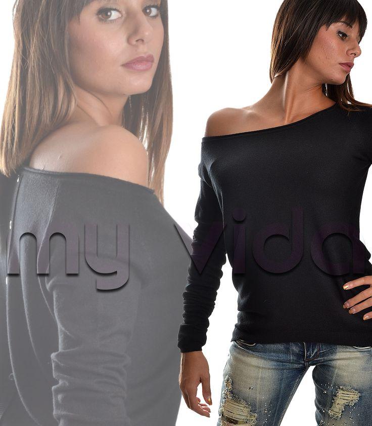 #Maglione #pullover donna girocollo bottoni. Indispensabile nel guardarobba #femminile questa maglia rasata realizzata in una morbidissima viscosa è il capo perfetto per qualsiasi tipo di #outfit. #fashion #shopping #shoppingonlinehttp://www.myvida.it/donna