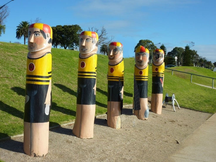 "Geelong, Victoria, Australia - ""Western Beach Sea Bathing Company"" Bollards No 29 - Western Beach Sea Bathing Company swimmers (established in 1872). These are also portraits of politicians Gordon Scholes, Nipper Tresize, John Howard, Jeff Kennett and Hubert Opperman as a young man."