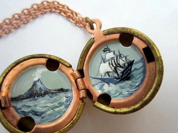 Pirate secret locket $40 >> This is super!Secret Lockets, Sailing Ships, Pirates Secret, Grey Ships, Black White, Brass Ball, Moody Black, Pirates Lockets, Ships High