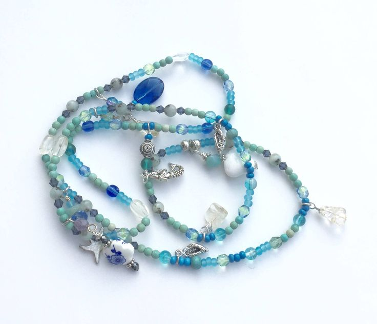 Now selling: Blue Beach Jewelry, Wrap Bracelet or Long Necklace, Mermaid Jewelry, Stretchy Jewelry, Charm Bracelet, Coastal Ocean Bracelet https://www.etsy.com/listing/530408060/blue-beach-jewelry-wrap-bracelet-or-long?utm_campaign=crowdfire&utm_content=crowdfire&utm_medium=social&utm_source=pinterest