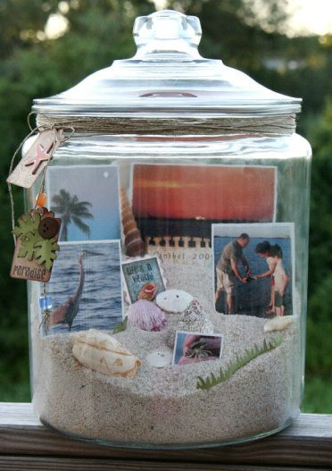 Love this idea!  I have a collection of shells from a vacation to Emerald Isle, so thought I would make a mason jar beach scene using some of them, and use a picture of my children playing on the beach for the background view.