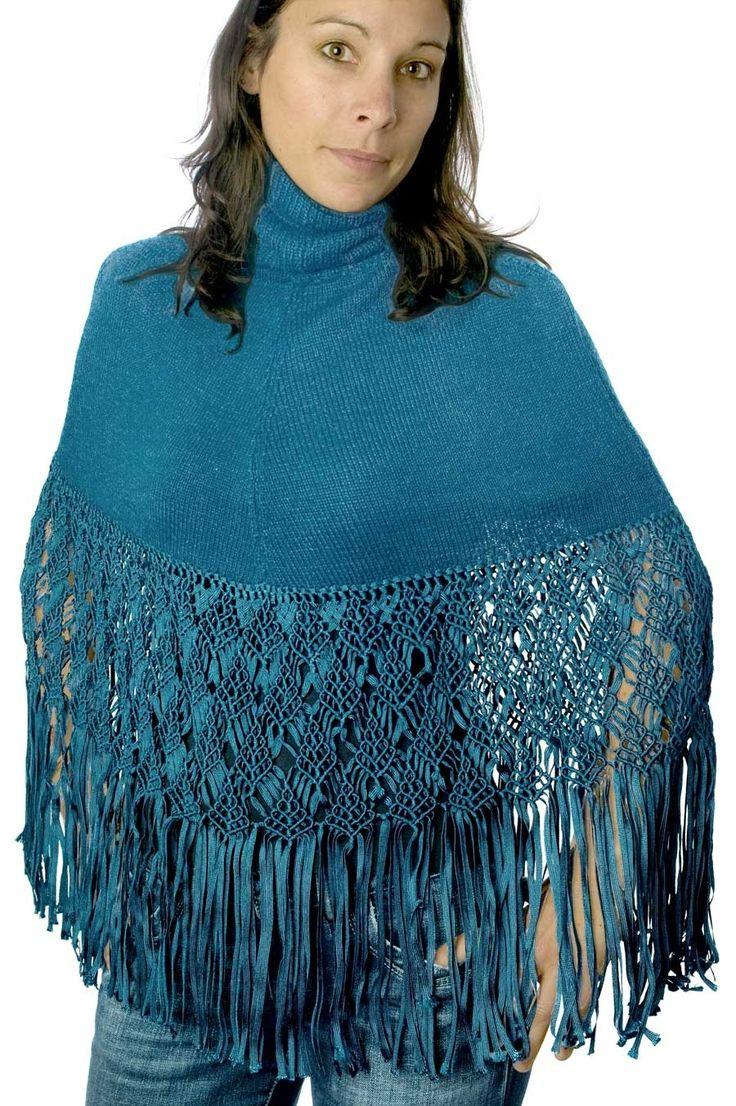 Poncho cuello alto de mujer, mezcla exclusiva de seda y alpaca. Abrigado y con cmucho estilo.