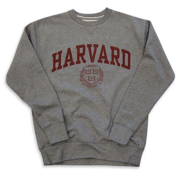 Harvard Sweatshirt Crew Vintage College Heather Grey ($65) ❤ liked on Polyvore featuring tops, hoodies, sweatshirts, sweaters, shirts, crew-neck tops, heather grey shirt, heather grey sweatshirt, crew neck sweatshirts and crewneck sweatshirt