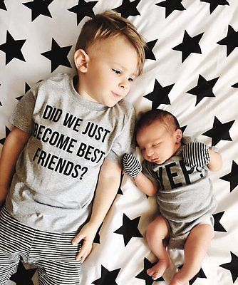 2017 Cute 1Newborn Baby Boy Romper Bodysuit Big Brother T-shirt Tops Outfits Family Set NEW