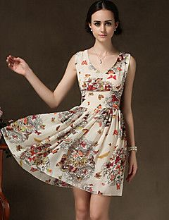 MG Women's Vintage/Sexy/Party/Work Sleeveless Dresses (Chiff... – USD $ 16.99