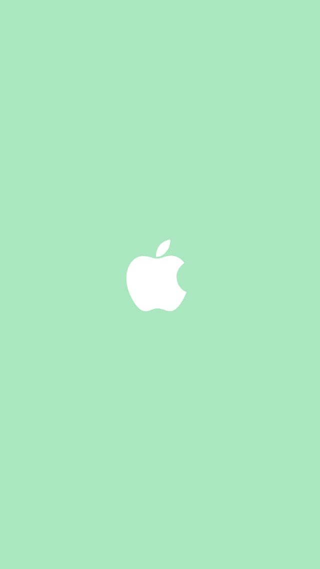 Apple Logo Light Green Background Simple Flat Illustration iPhone 5 Wallpaper