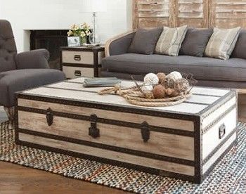 White Steamer Trunk Coffee Table.  Great example of lightening the room against the gray blue couch.