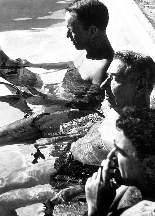 Frank Sinatra, Mike Romanoff, and Peter Lawford in the pool at Sinatra ...