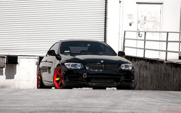 BMW M3, 335i, E92, red wheels, tuning, black m3, BMW