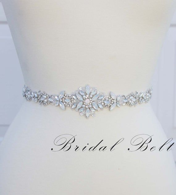 Opal Bridal Belt Beaded Bridal Belt Thin Bridal Belt Etsy Bridal Belt Wedding Dress Belt Bridal Sash Belt