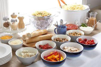 pasta buffet: - 5 pasta shapes (wagon wheels, elbow mac, fusilli, spaghetti, small shells) - 5 sauces (marinara, creamy tomato, alfredo, pesto, garlic and olive oil) - 5 mix-ins (frozen peas, broccoli florets, cubed ham, canned white beans, shredded chicken) - 5 cheese choices (shredded parmesan, shredded mozzarella, shredded monterey jack, ricotta, shredded cheddar)