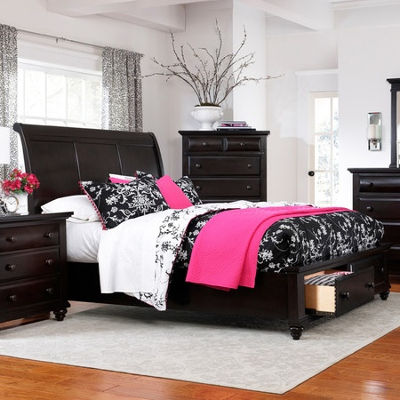 My husband and I have a storage bed very similar to this and we absolutely LOVE it!! This whole set is really similar to ours however, we have blue and tan bedding.  I do like the black, white and hot pink bedding though.