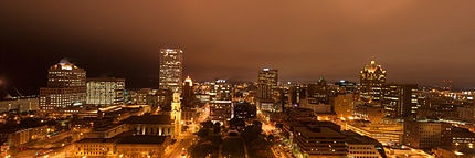 Panoramic view of Downtown Milwaukee at night, grid system visible