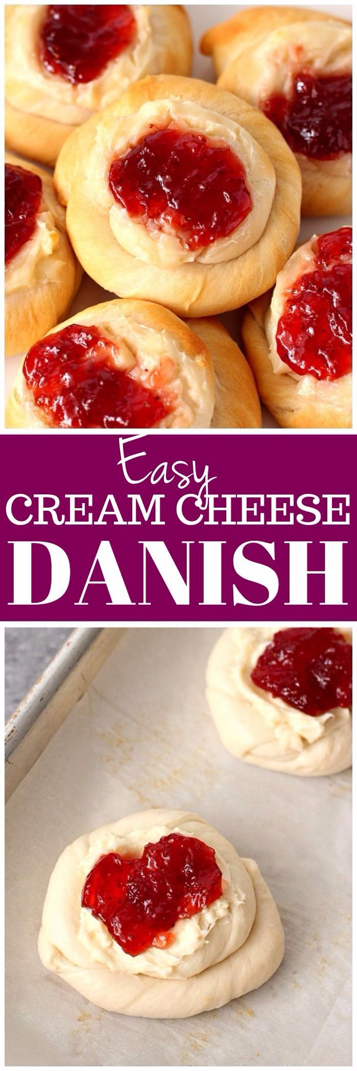 Easy Cream Cheese and Jam Danish Recipe - soft and fluffy pastry with creamy vanilla filling and sweet strawberry jam topping. www.crunchycreamysweet.com