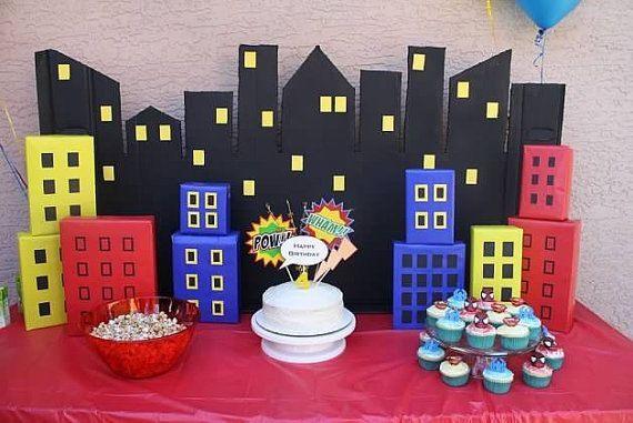 Super Hero Backgound - City Scape - SuperHeroes - Boys Birthday Party - Superman - Batman