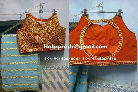 Beautiful cut work saree with mirror work and contrast georgette saree #Saree