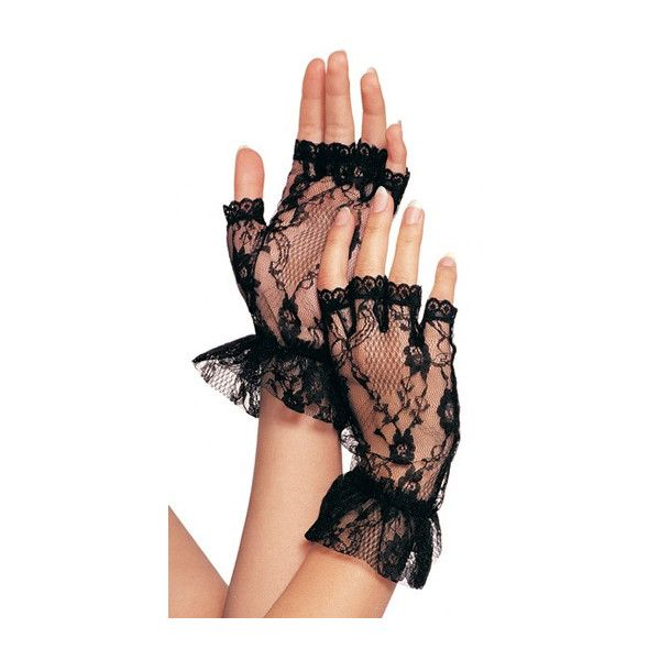 JT's Stockroom - Wrist-Length Fingerless Lace Gloves with Ruffles (180 THB) ❤ liked on Polyvore featuring accessories, gloves, ruffle gloves, fingerless lace gloves, fingerless gloves and lace gloves