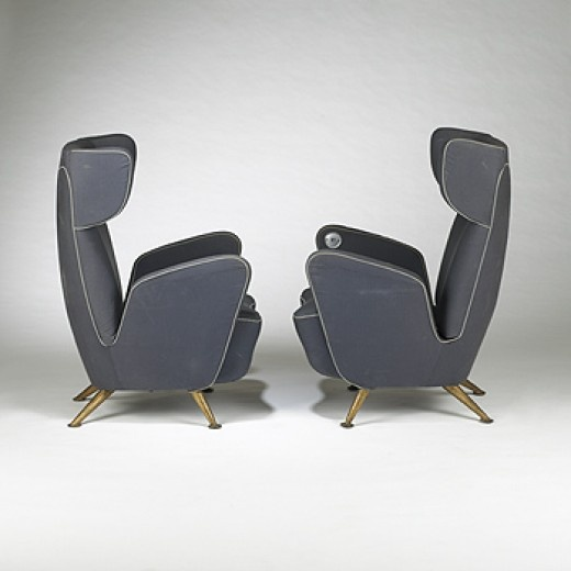 GIULIO MINOLETTI    lounge chairs, pair    Breda  Italy, c. 1950  brass, wool over wood and foam  28 w x 39 d x 41 h inches