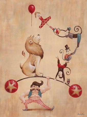 Vintage Circus Strong Man Canvas Wall Art