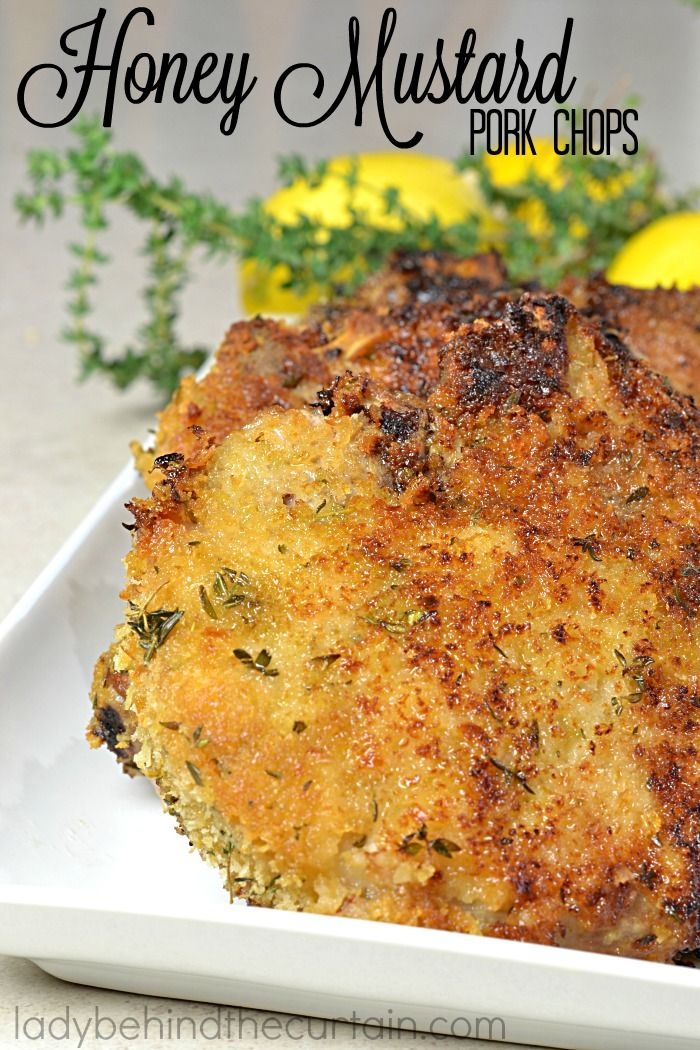 Honey Mustard Pork Chops   Who doesn't love a pork chop that is packed with layers of flavor? I know I do.....that's why this is my all time favorite pork chop recipe. Starting with a honey mustard coating and the perfect crust combination of bread crumbs, thyme and lemon zest. These chops were just as good the next day as the first.