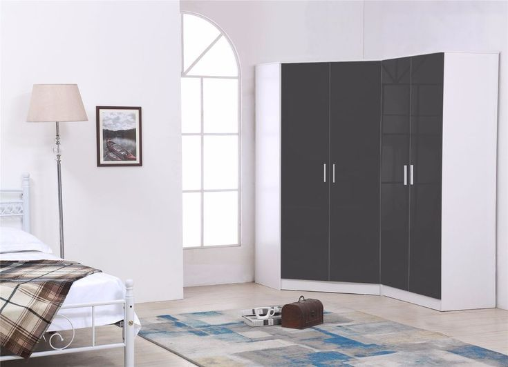 REFLECT Plain 4 Door Corner Wardrobe Gloss Grey / White Bedroom Furniture Set | Home, Furniture & DIY, Furniture, Wardrobes | eBay!