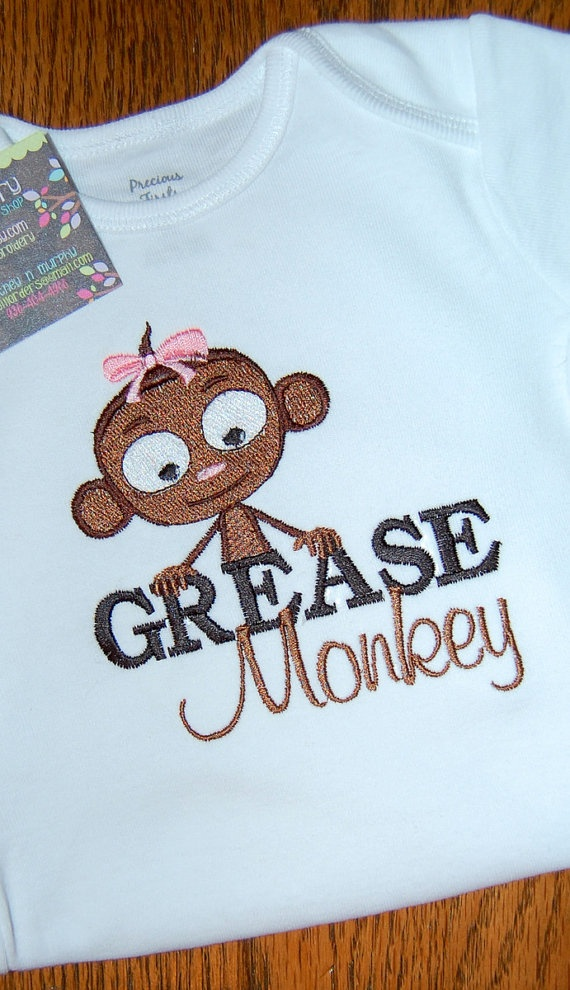 grease monkey: Grease Monkey, Parties Ideas, Girls Grease, Heavy Monkey, Applique Shirts