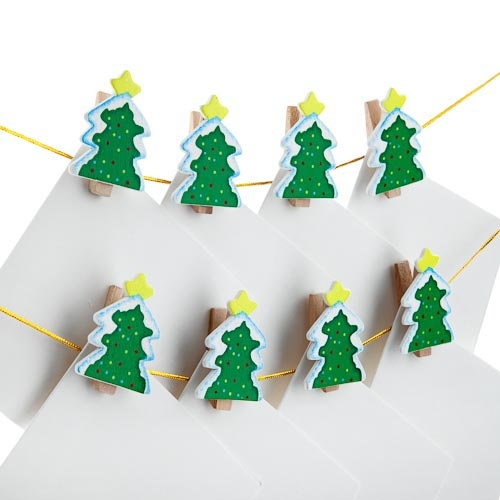 12 piece Wooden Christmas Tree Card Holder | Poundland