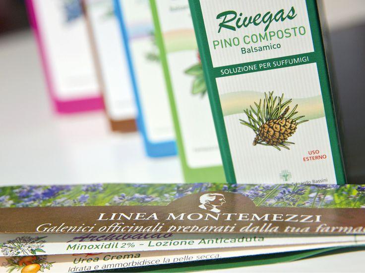Progetto e realizzazione del packaging, studio le logo e creazione delle illustrazioni per la linea dei prodotti galenici officinali della Linea Montemezzi per la Farmacia Comunale Bassini di Vigasio - Verona