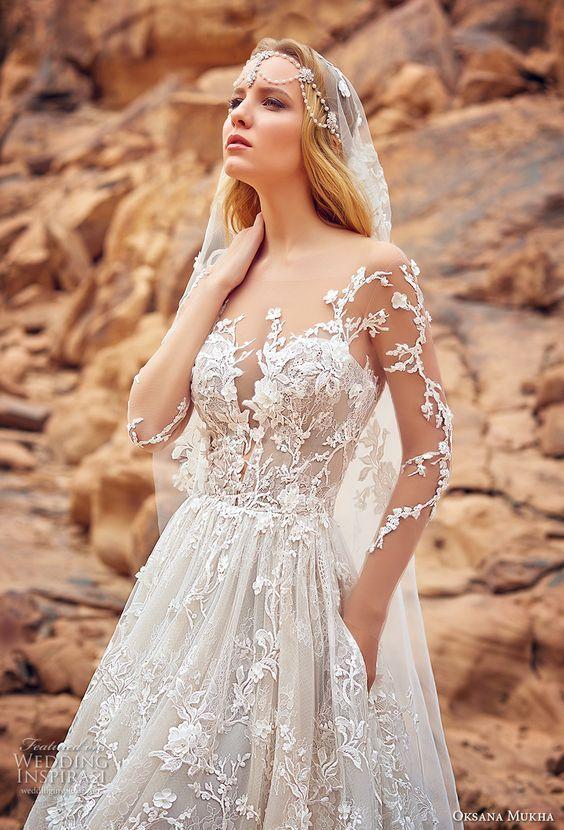 4ae1cbbeb0d3 oksana mukha 2018 bridal three quarter sleeves sweetheart neckline full  embellishment princess a line wedding dress with pockets open back royal  train ...