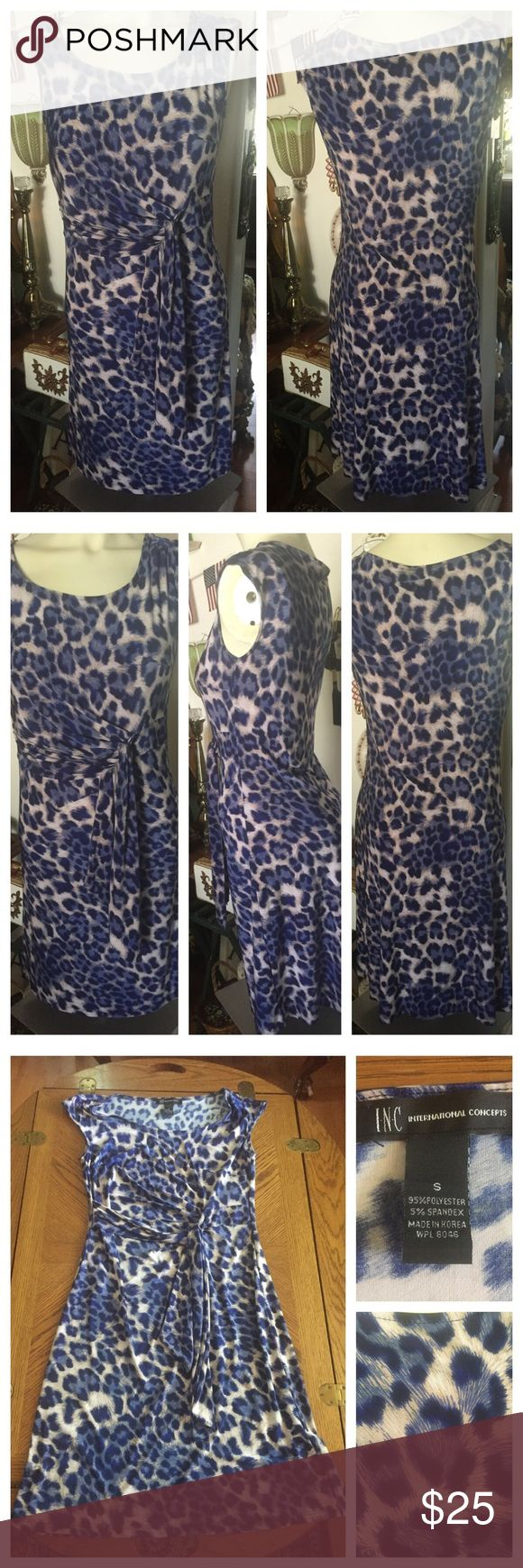 INC International Faux Wrap Dress Stretchy faux wrap dress in a great blue and white print by INC International Concepts ~ Size Small.  A beautifully draped tie front. In excellent and clean preowned condition. Smoke-free home. INC International Concepts Dresses Midi