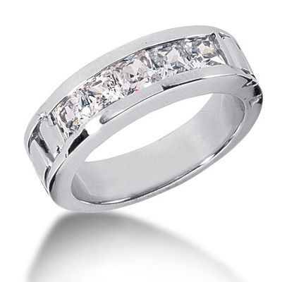 platinum diamond mens wedding band 2ct