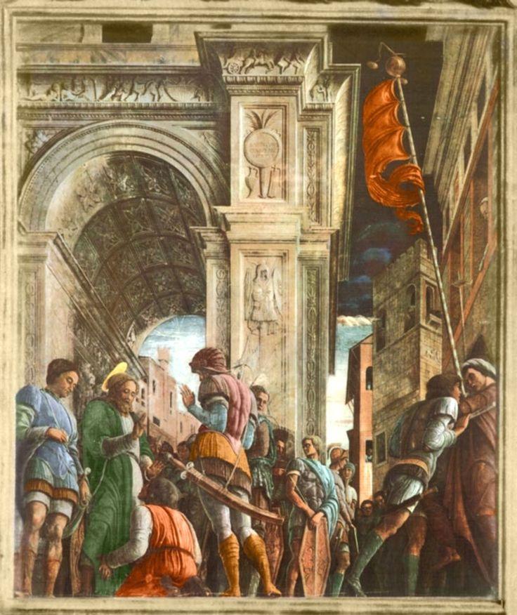 Andrea Mantegna, Padova. Eremitani曼帖那(1431-1506)義大利文藝復興時期畫家。「聖詹姆斯赴刑場途中」濕壁畫,在二次大戰中焚毀。