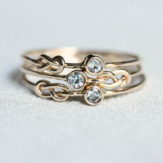 SOLID 14k Gold - Choose Three Stones - White or Yellow Gold - Tiny Birthstone Stacking Rings - Infinity Knots and Stone Options - Delicate