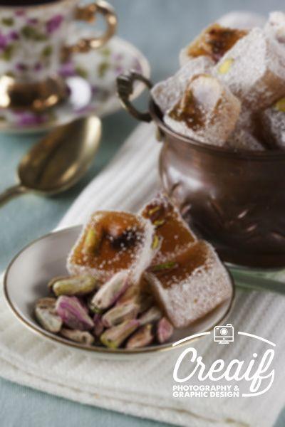 Fıstıklı lokum  - Turkish delight with pistacho  www.creaif.com